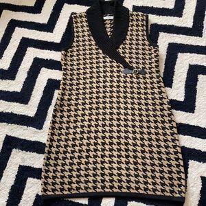 Calvin Klein houndstooth sleeveless sweater dress